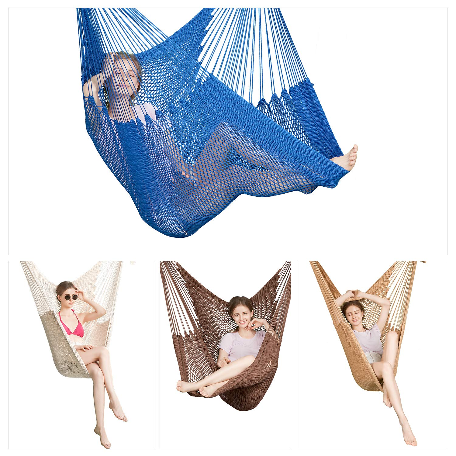 Greenstell Large Caribbean Hammock Hanging Chair with Hanging Kits and 150cm Strap,Swing Chair Comfortable Durable,100 Soft-Spun Polyester,for Indoor,Outdoor,Home,Patio,Yard,Garden 40 Inch Mocha