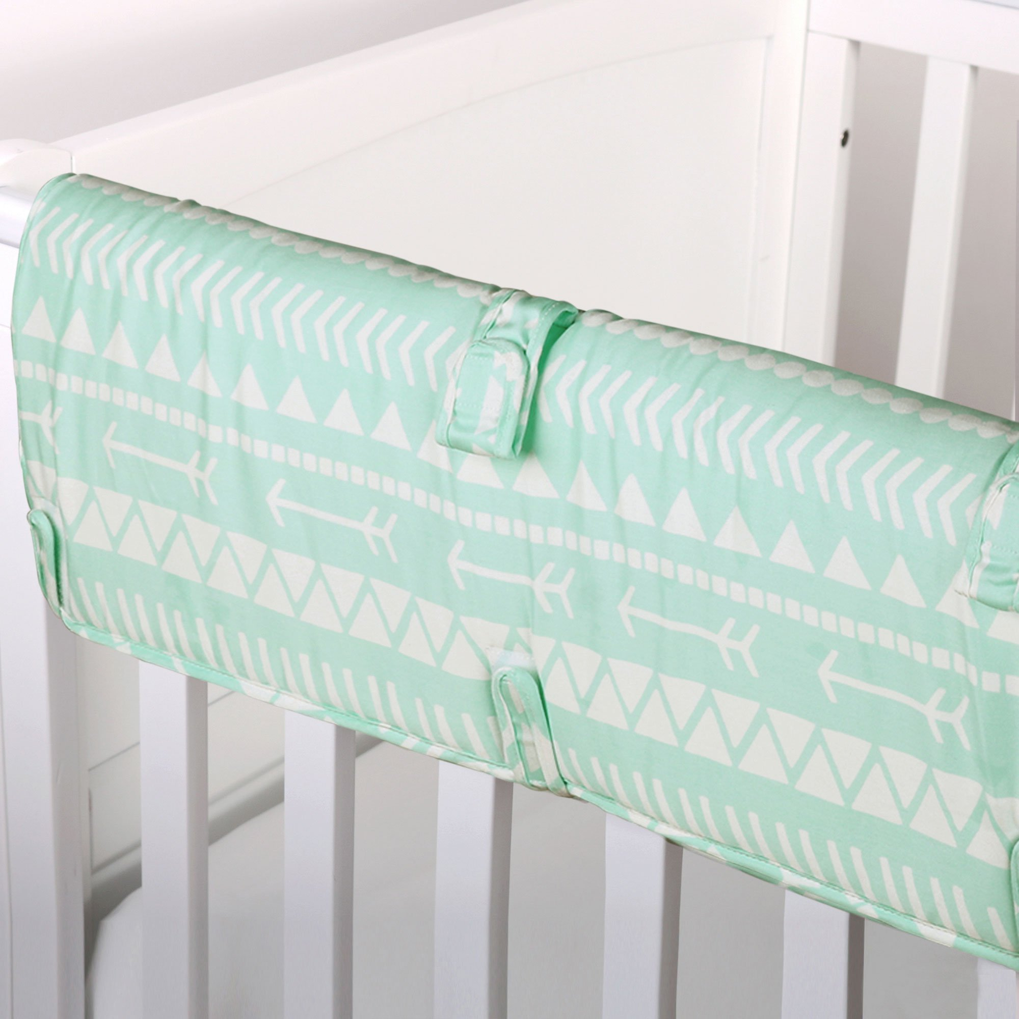 Mint Green Tribal Print 100% Cotton Padded Crib Rail Guard by The Peanut Shell by The Peanut Shell (Image #1)
