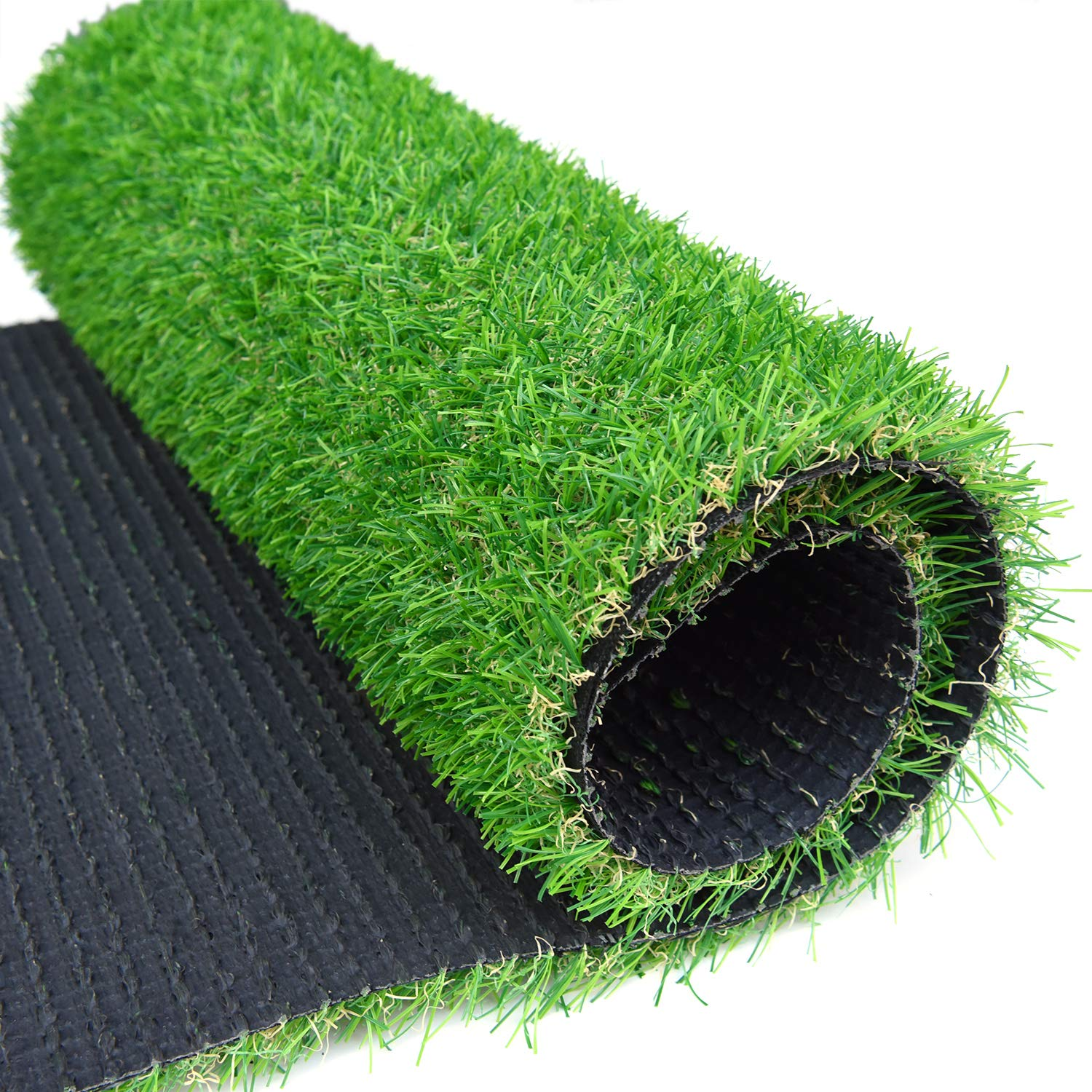 "RoundLove Artificial Grass Turf Patch, 1"" 4 Tone Synthetic Grass Mat w/Drainage Holes & Rubber Backing, Lush & Hard Pet Turf Astroturf Rug, Fake Turf for Indoor & Outdoor Patio Decor"