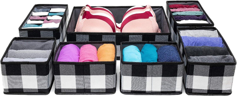 Nest & Be Premium Fabric Closet Drawer Organizer – Large 7 pc Set, Buffalo Check Plaid, 5 inch Deep Storage Bins for Underwear, Nursery, Laundry, Closet, Kids playroom (Black & White)