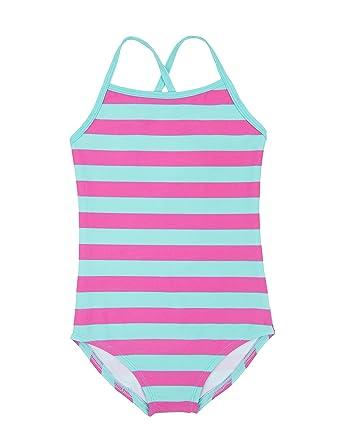 8dfdfebf07 Leveret Kids Baby Boys Girls One Piece Swimsuit UPF 50+ Striped Aqua/Pink  Size