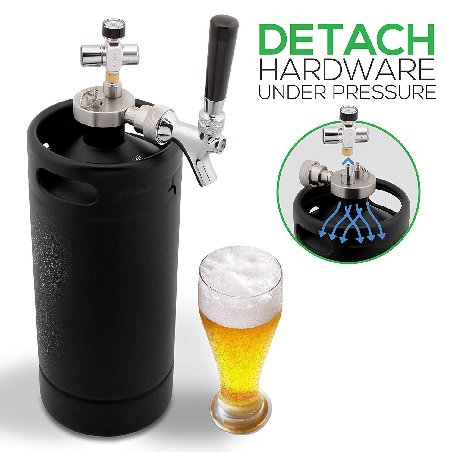 NutriChef PKBRTP110 Mini Keg Beer Growler-Detachable Aluminum Regulator & Spout Easy Storage Under Pressure, Black Matte Powder Coated 128oz Press, Medium