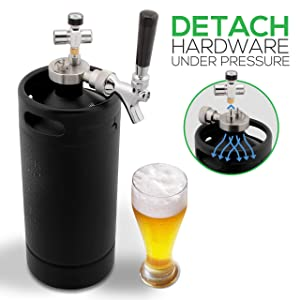 NutriChef PKBRTP110 Mini Keg Beer Growler-Detachable Aluminum Regulator & Spout Easy Storage Under Pressure, Black Matte Powder Coated 128oz Press, Medium