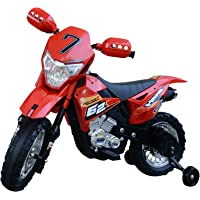 Homcom Motocross électrique 35 W 107L x 53l x 70H cm Enfants 3 à 8 Ans Rouge avec roulettes Amovibles