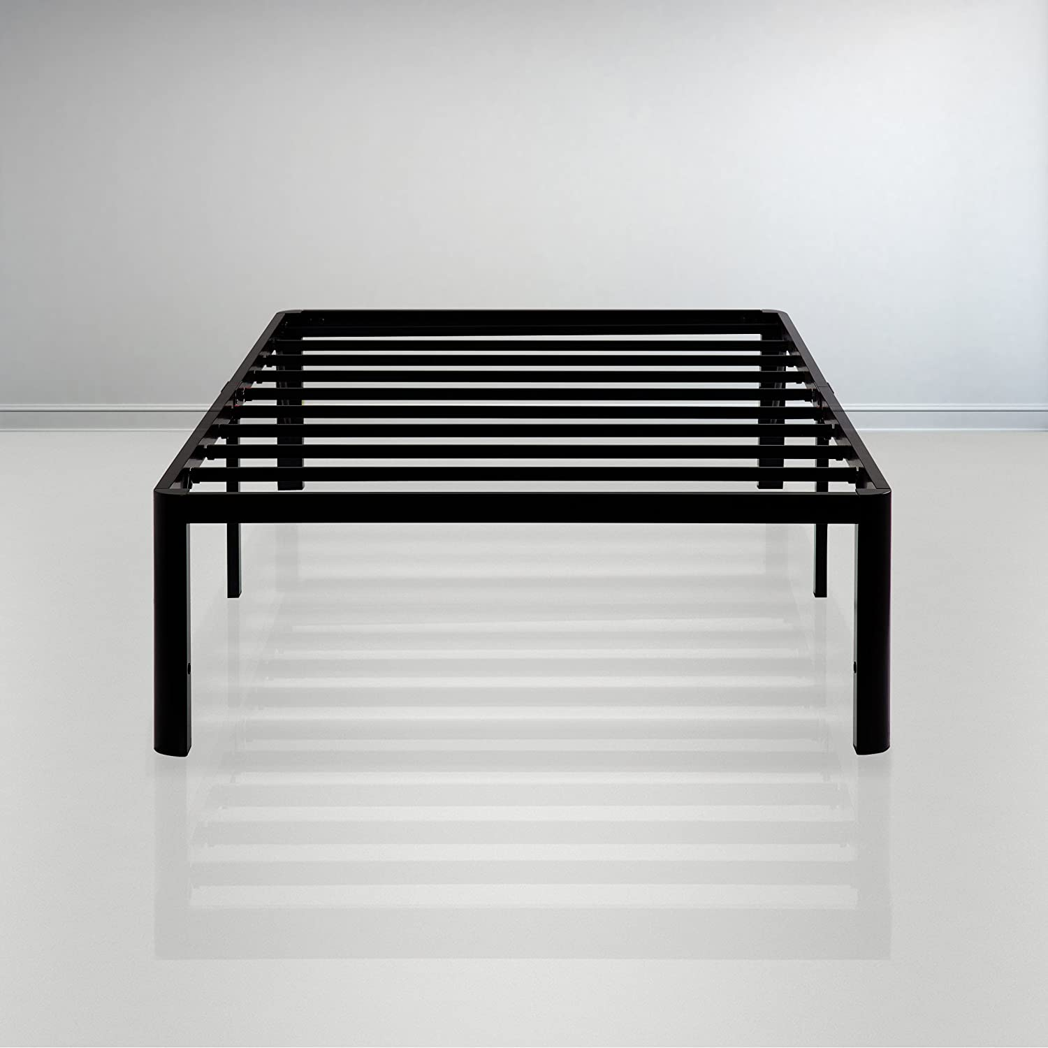 Sleeplace 14 Inch Heavy Duty Steel Slat Anti-Slip Support, Metal, Black Twin XL Size Bed Frame,