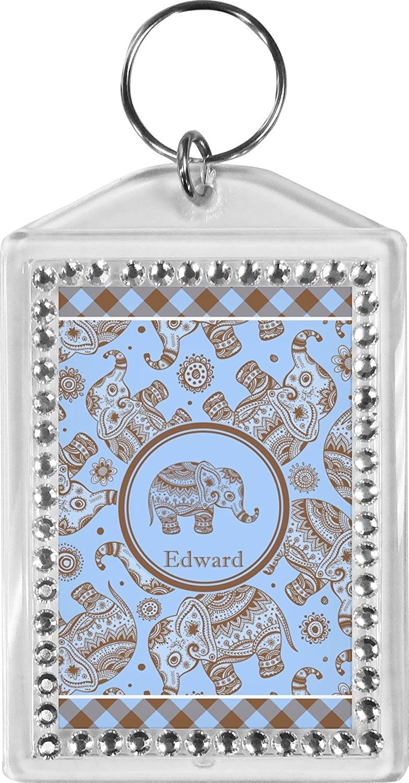 Gingham & Elephants Bling Keychain (Personalized)