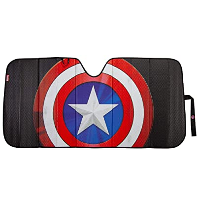 Plasticolor 003830R01 Marvel Captain America Shield Logo Black Matte Finish Car Truck or SUV Front Windshield Sunshade: Automotive