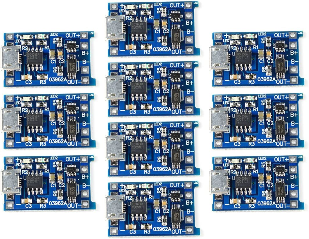 10Pcs//set 5V Micro USB 1A 18650 Lithium Battery Charging Board Charger Module TO