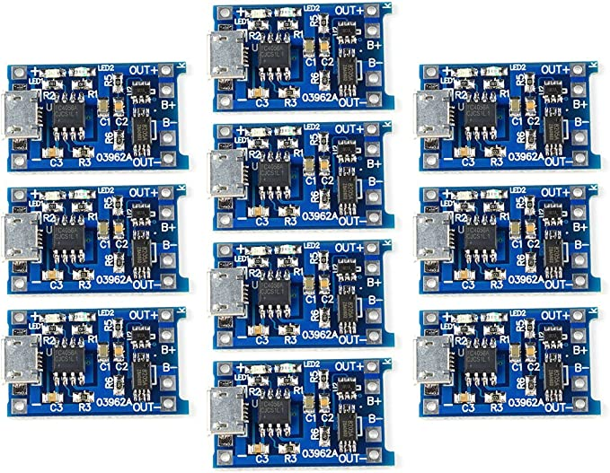TP4056 5V Micro USB 1A 18650 Lithium Battery Charging Board with Protection Dual Functions 1//2 5//10 Pcs