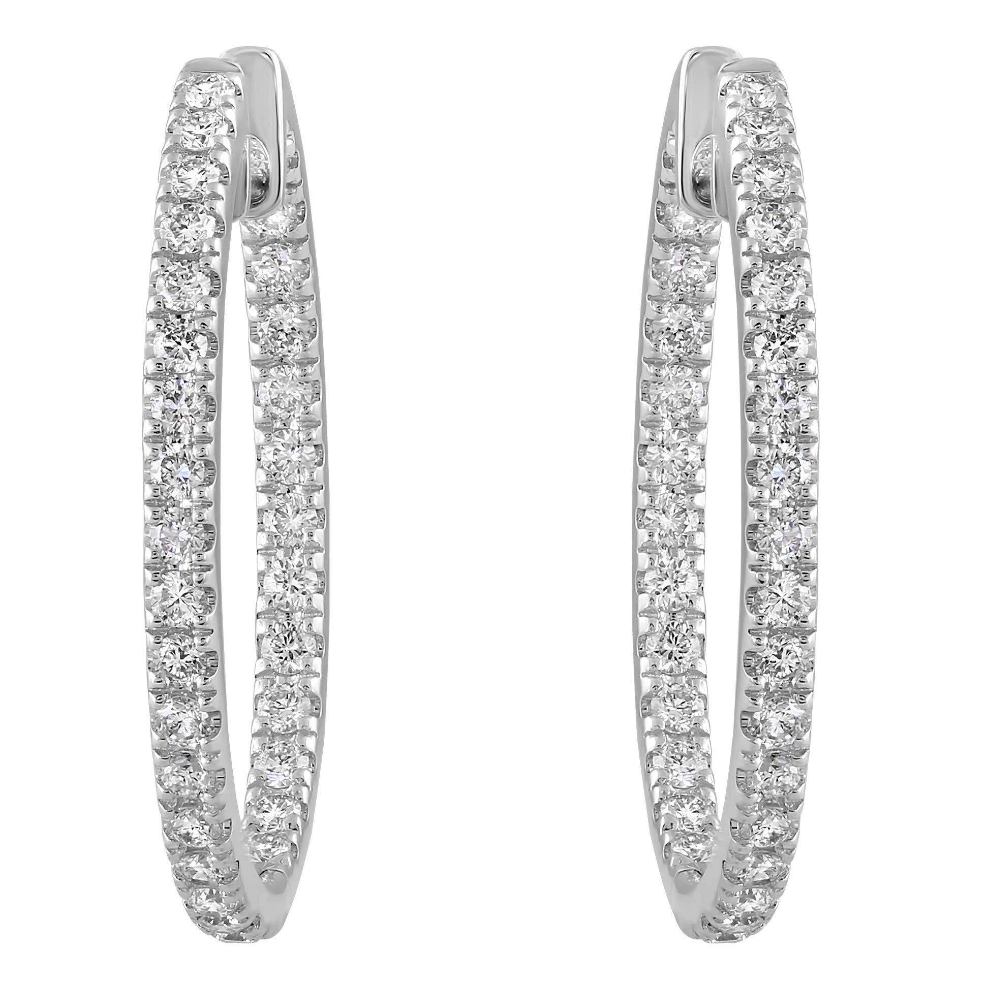 Olivia Paris 14k White Gold 1 Carat cttw Round Brilliant Diamond Hoop Earrings (H-I, SI2-I1) 1'' Inch