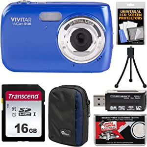 Vivitar ViviCam S126 Digital Camera (Blue) with 16GB Card + Case + Mini Tripod + Reader + Kit