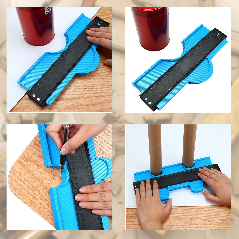 ENJOHOS Konturenlehre Fliesen Laminat Duplikator Holz Markierungswerkzeug Fliesen Laminatfliesen Allgemeine 10 Zoll, Blau