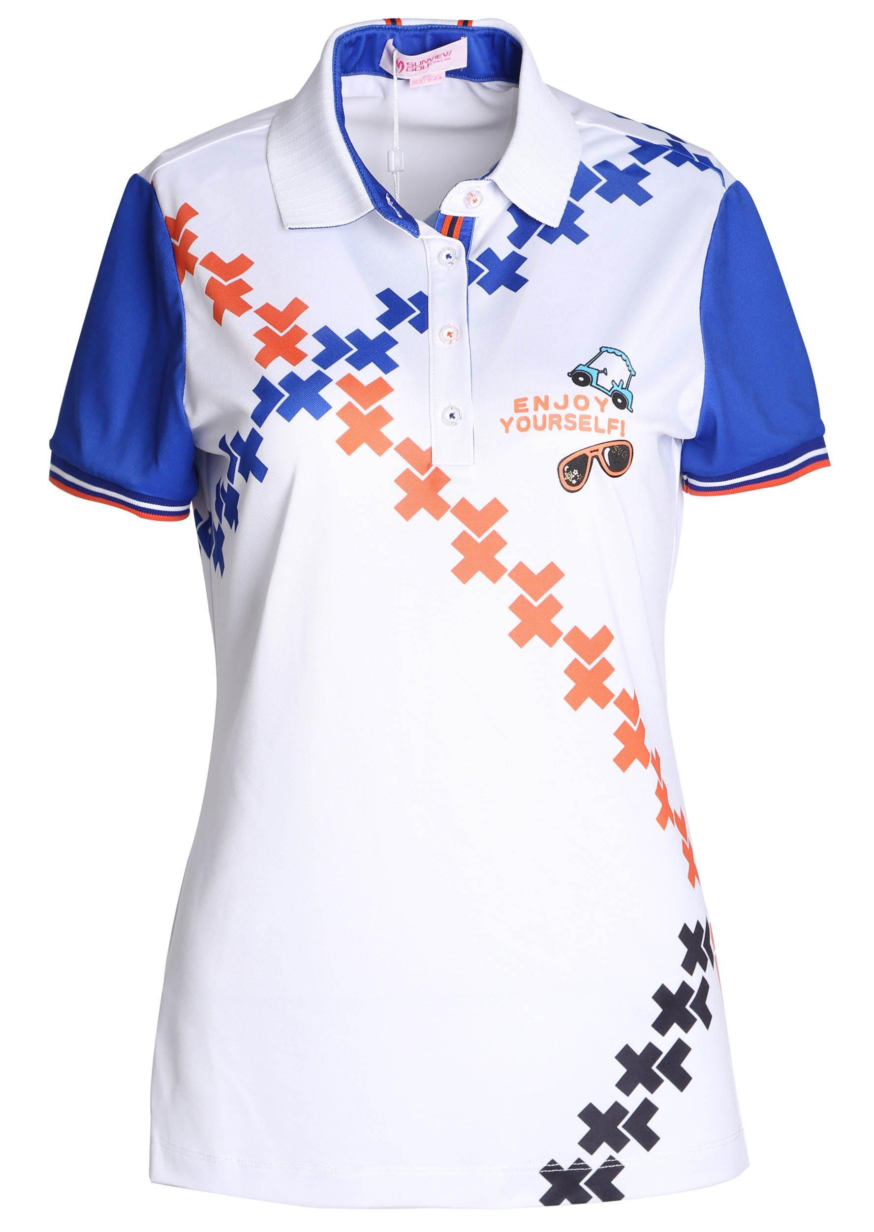 SVG Women's Polo Neck Golf Shirt Short Sleeve Criss-cross Print Summer Top XS