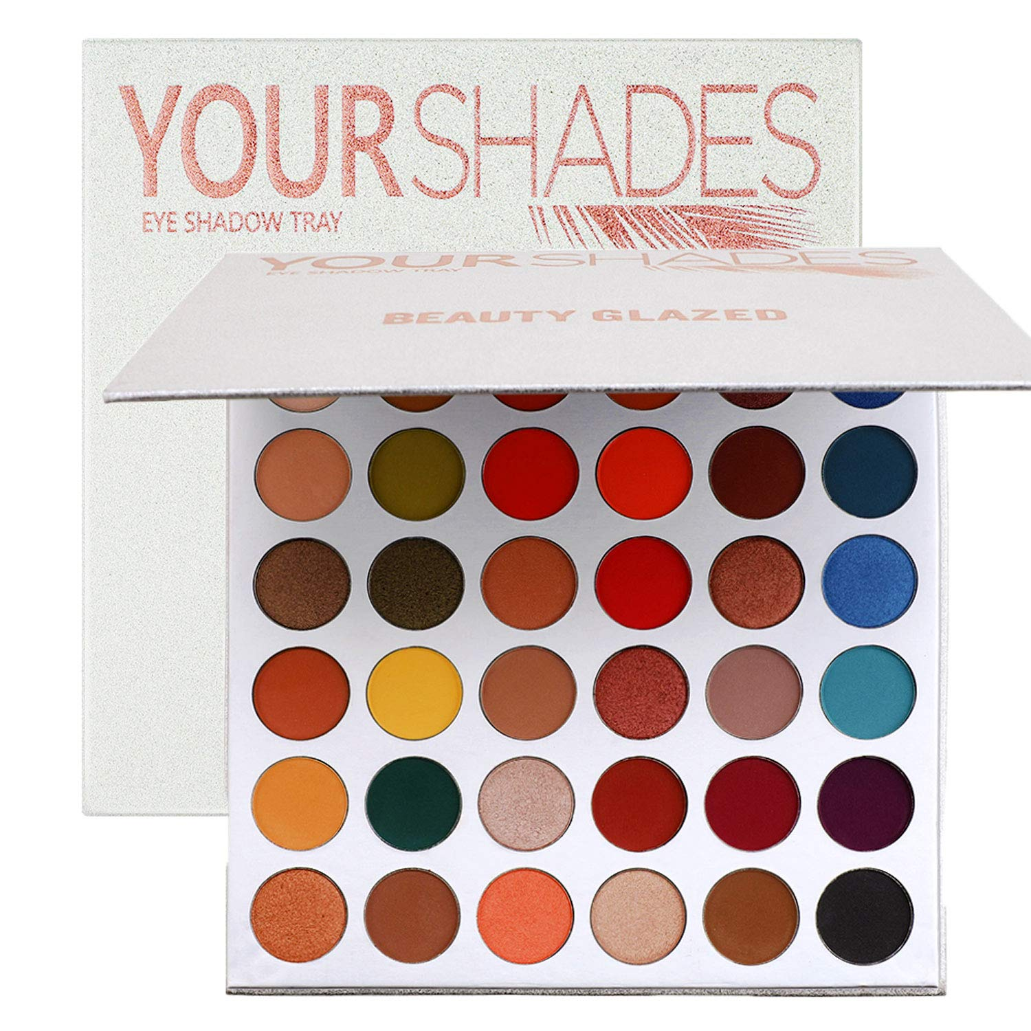 Beauty Glazed 36 Colors Eyeshadow Palette - Professional Glitter Shimmer Matte Red Eyeshadows Cosmetics - Highly Pigmented Nudes Smoky Eye Shadow Powder Makeup