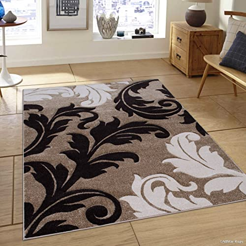 Allstar 8×11 Champagne Modern and Contemporary Hand Carved Rectangular Accent Rug with Ivory and Espresso Leaf Silhouette Design 7 1 x 10 5
