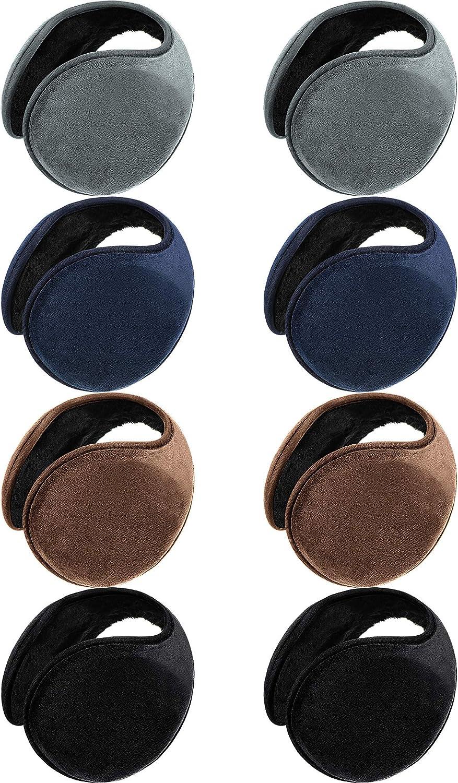 8 Pieces Winter Fleece Earmuffs Unisex Ear Warmers Classic Warm Ear Muffs
