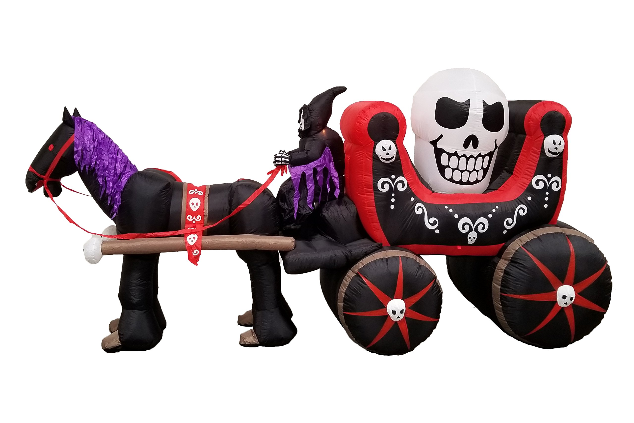 12 Foot Long Halloween Inflatable Carriage with Skeleton Ghost + Skull Party Decoration