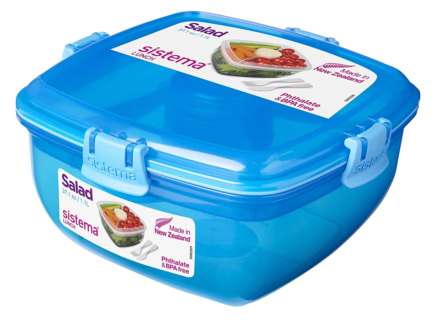 Sistema Lunch Salad to Go Container, 37.1 oz, Green - Food Solutions for Busy Lifestyles