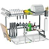 Skywin - Soporte para platos de cocina sobre el fregadero, 15 piezas, 2 estantes para encimera sobre el fregadero, estante de