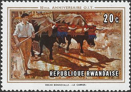 Amazon Com 1969 Rwanda 50 Anniversario Dell O I T Postage