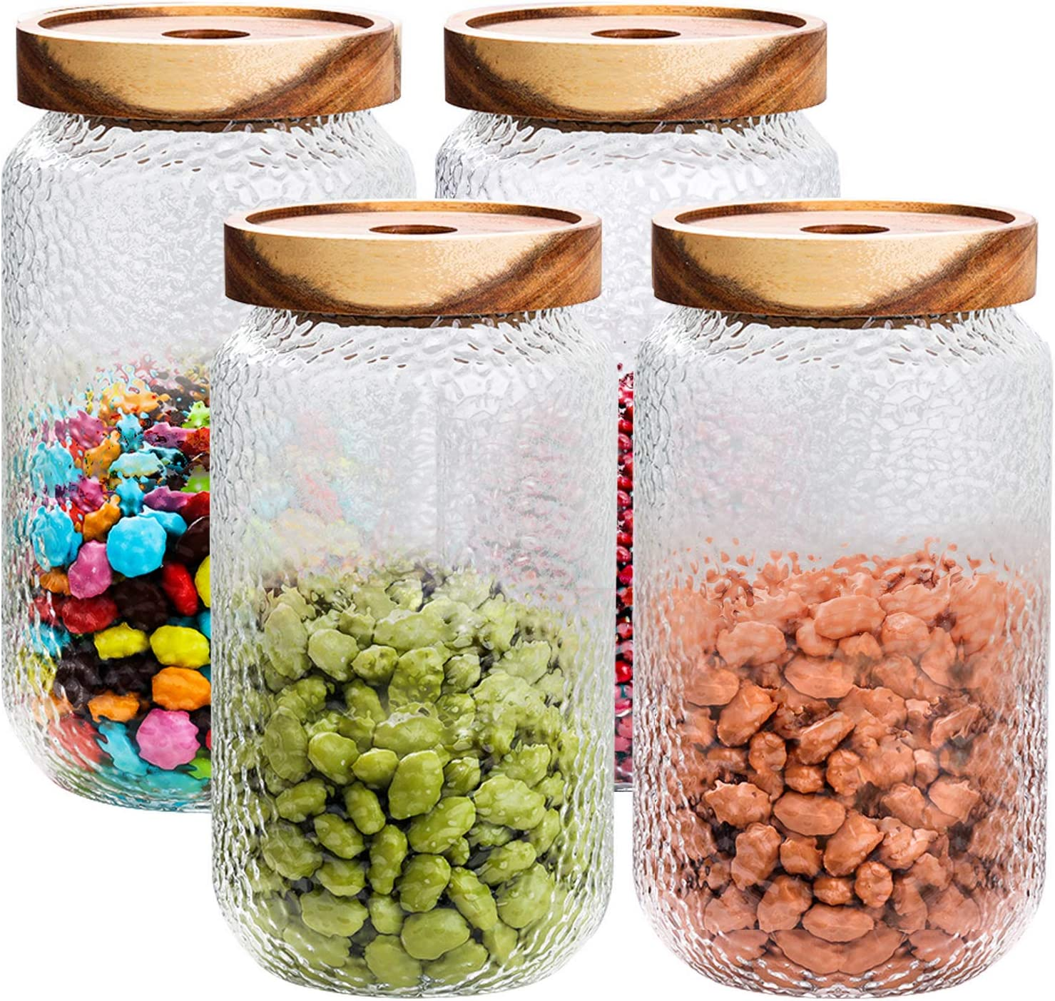 SMARTAKE Glass Jar Sets, 4 Packs of 29oz Wide Mouth Food Storage Jars Containers with Airtight Wood Lid, Reusable Food Storage Canister for Food, Coffee Bean, Flour, Candy, Snacks, Nuts