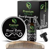 Beard Grooming Kit Gift for Him - for Mustache & Beard Growth - Soften Soothe & Moisturize Skin & Hair - Castor Jojoba Almond & More Essential Oils - Premium Nature