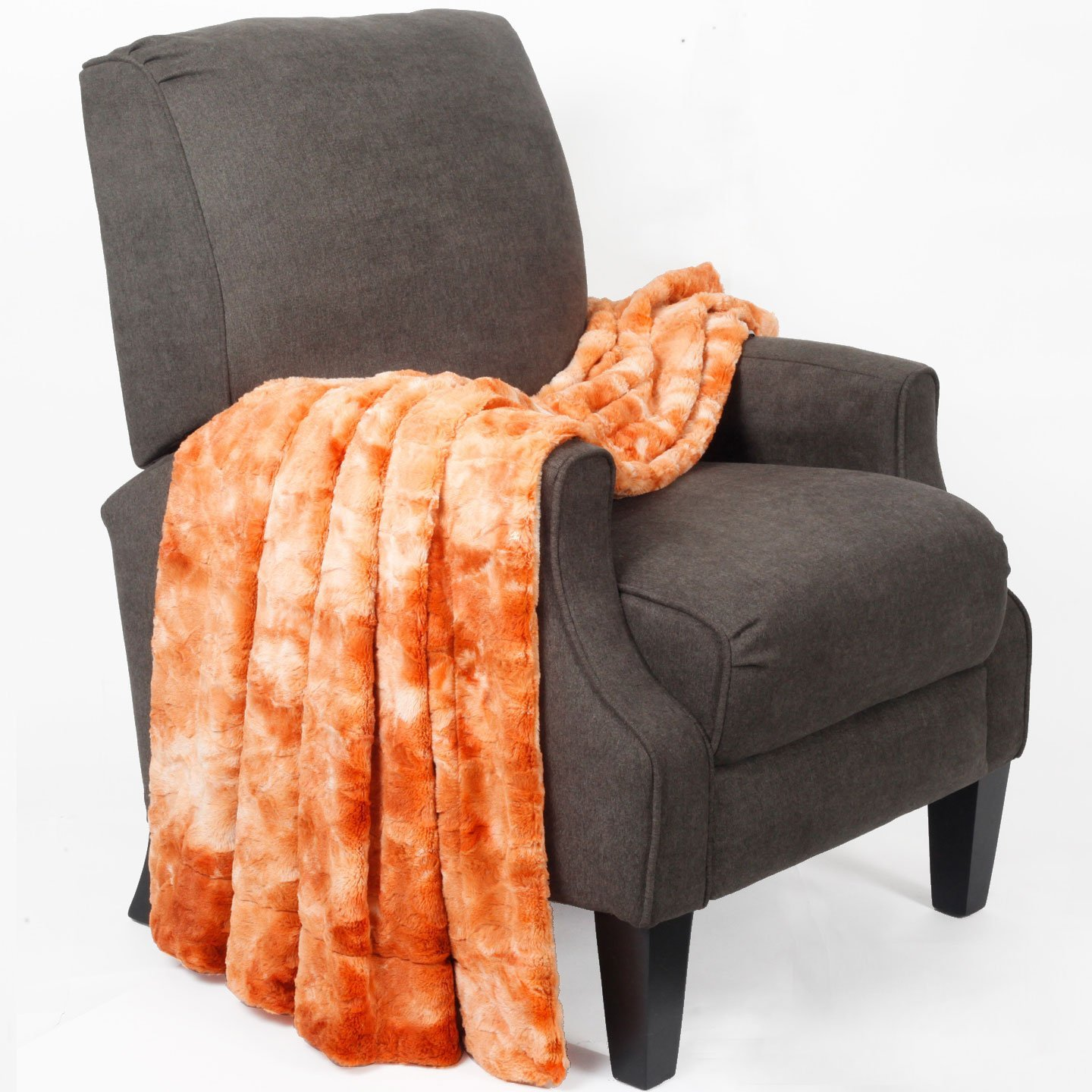BOON Tie Dyed Double Sided Faux Fur Throw Orange Home Soft Things BNFTHR5060TFFOR