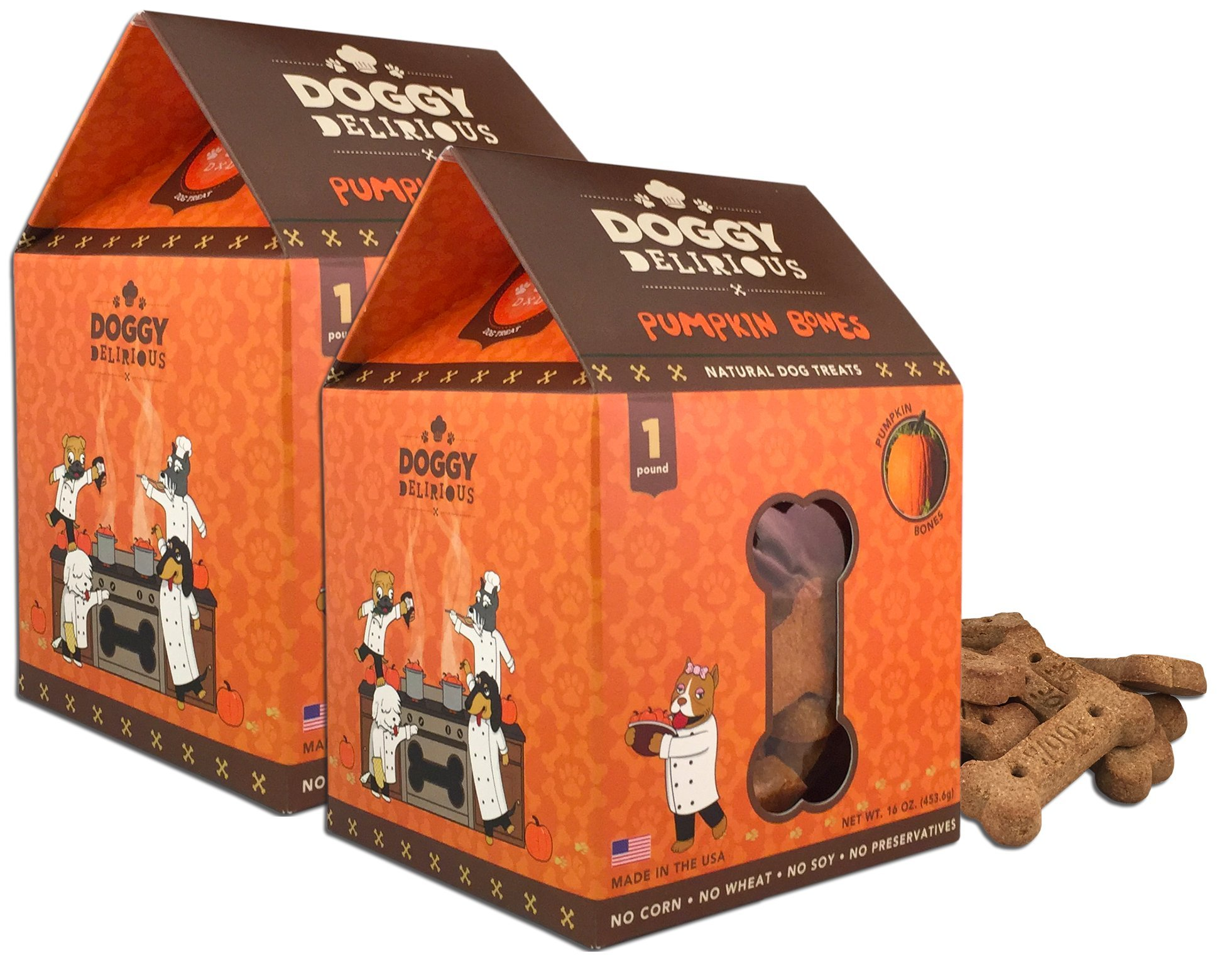 Wet Noses Doggy Delirious All Natural Dog Treats, Made in USA, 100% USDA Certified Organic, Non-GMO Project Verified, 14 Oz Box, Pumpkin Flavor, 2-Pack