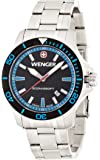 Wenger Seaforce Men's Quartz Watch with Black Dial Analogue Display and Silver Stainless Steel Bracelet 010641106