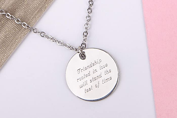 Silver Coloured Necklace With Silver Coloured Friendship Disc