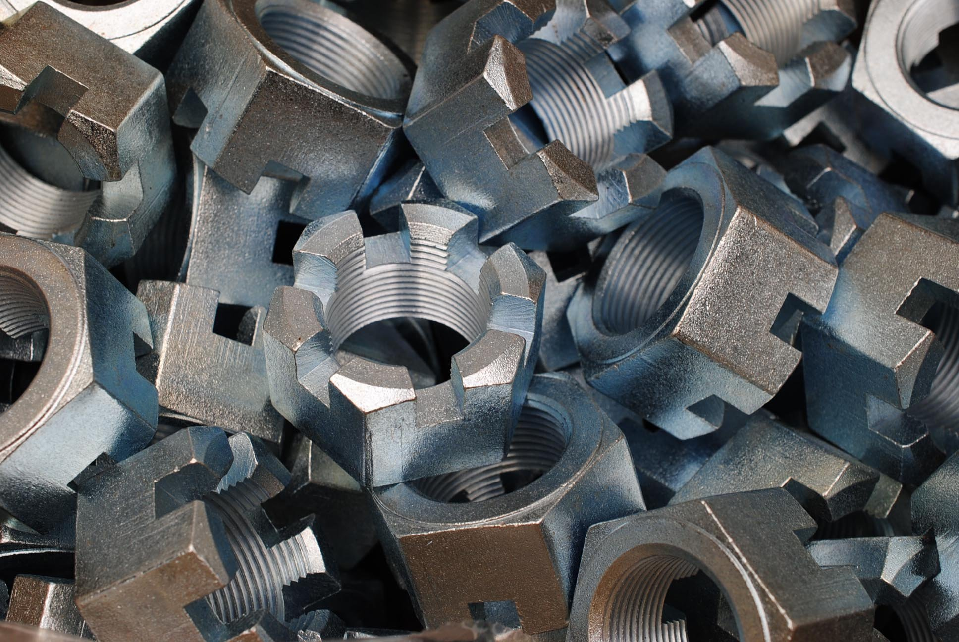(6) Slotted Hex Castle Nuts 1-1/2-12 Fine Thread Zinc Plated 1-1/2''-12 by Lexar Industrial