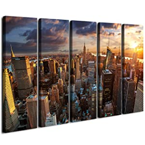 ART New York Sundown Canvas Print, Large Wall City Landscape, Extra Large Cityscape Big Apple New York Wall Print - 60x32 Inch Total