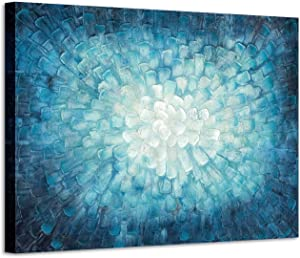 Teal Abstract Painting Wall Art: 3D Teal Textured Picture in Gradient Color Modern Canvas Painted Artwork ( 45'' x 30'' x 1 Panel )