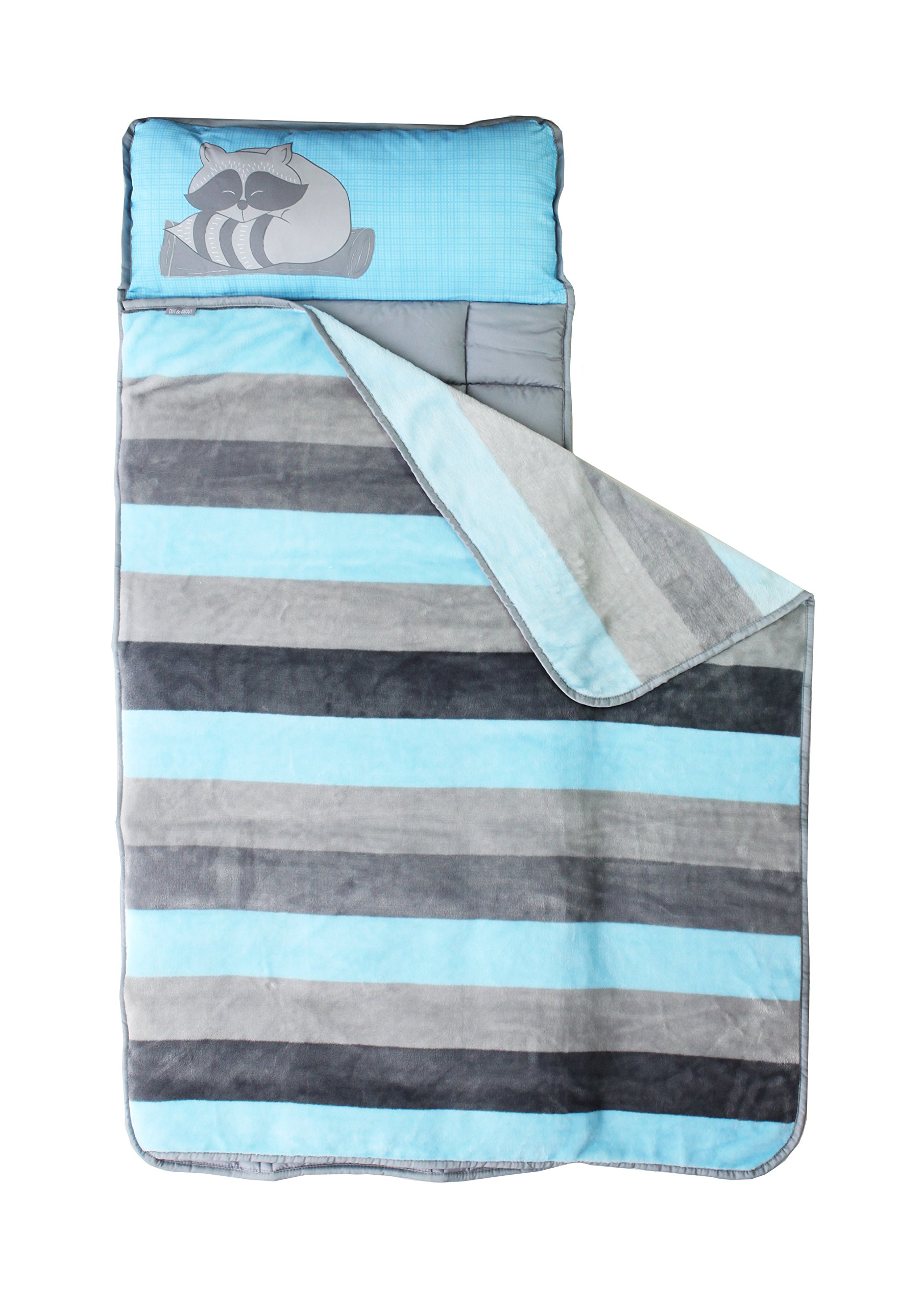Toddler Nap Mat - Portable Washable Plush Blanket & Padded Mattress (Stripe Raccoon) By Homezy