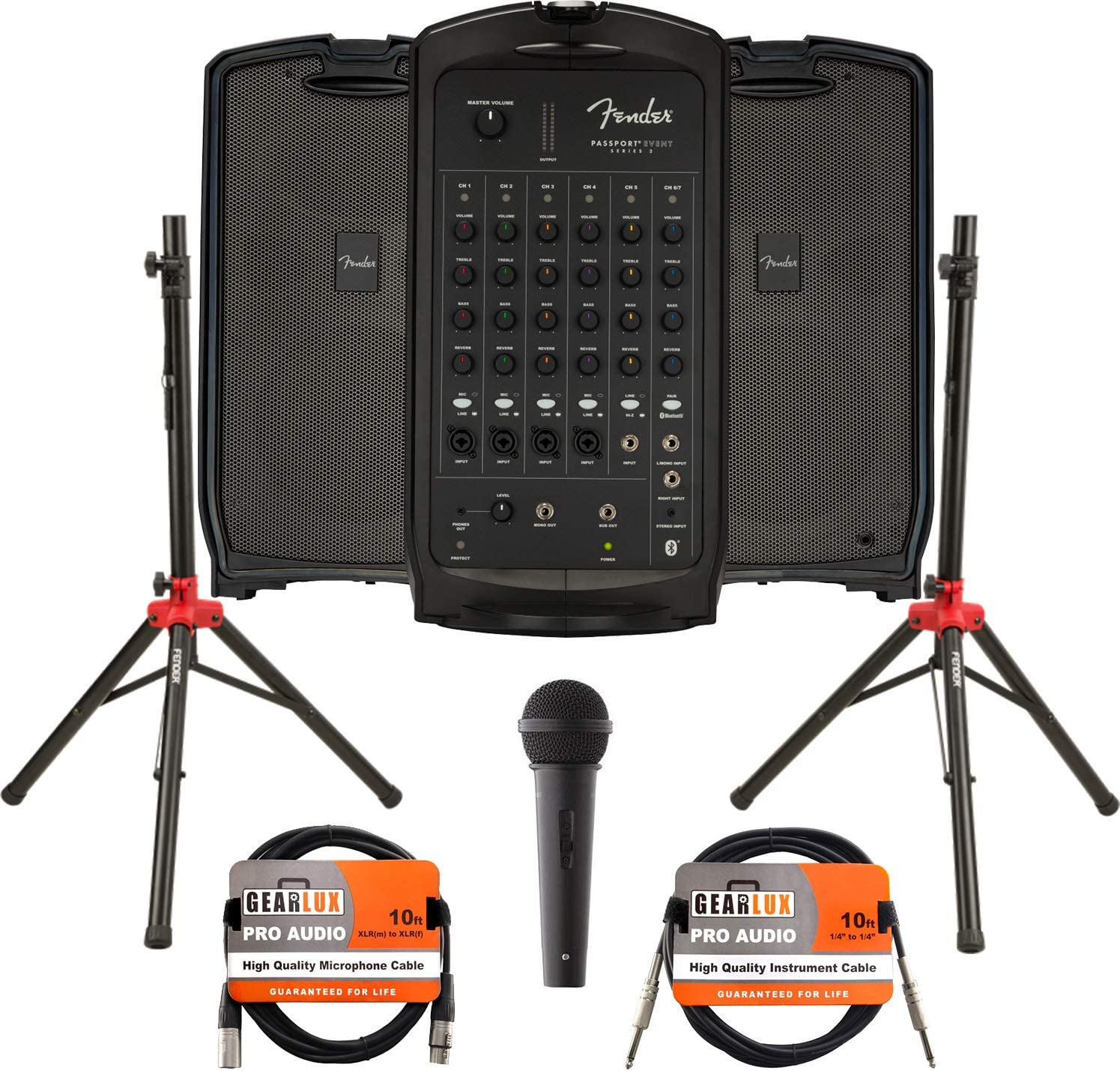 Fender Passport Event S2 Portable PA System Bundle with Compact Speaker Stands, Microphone, XLR Cable, and Instrument Cable
