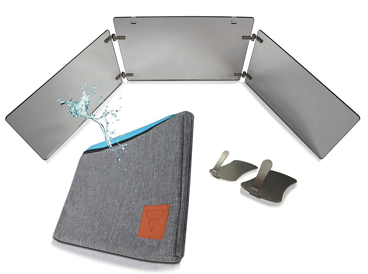 """GAT Trifold Mirror - 3 way mirror used for Self Hair Cutting, Fogless Shaving in the Shower, Makeup, Hair styling and Coloring. The perfect travel mirror. G.A.T. -""""Go Anywhere Tri fold"""" by Viribus."""