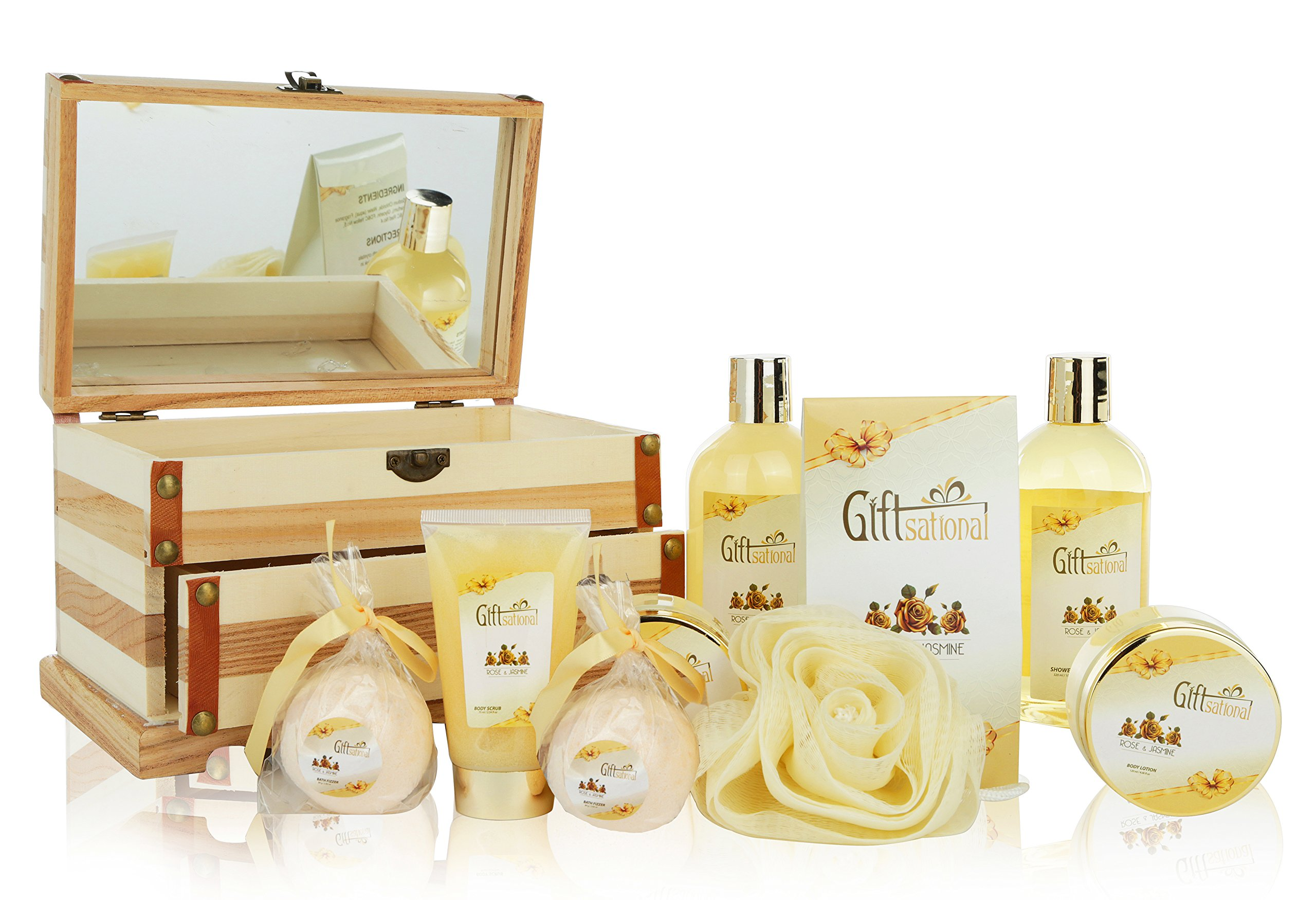 Spa Gift Basket Refreshing Rose & Jasmine Fragrance, Beautiful Wooden Gift Box with Mirror, Perfect Wedding, Birthday or Anniversary Gift, Bath gift Set Includes Shower Gel, Bath Bombs and More! by Giftsational (Image #3)