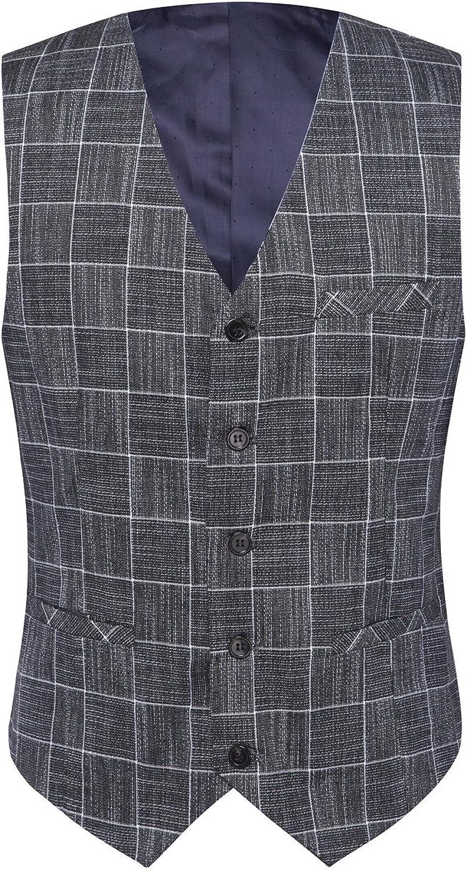 Mens Plaid Tweed 3 Piece Suit Slim Fit One Button Dinner Suit Tuxedo