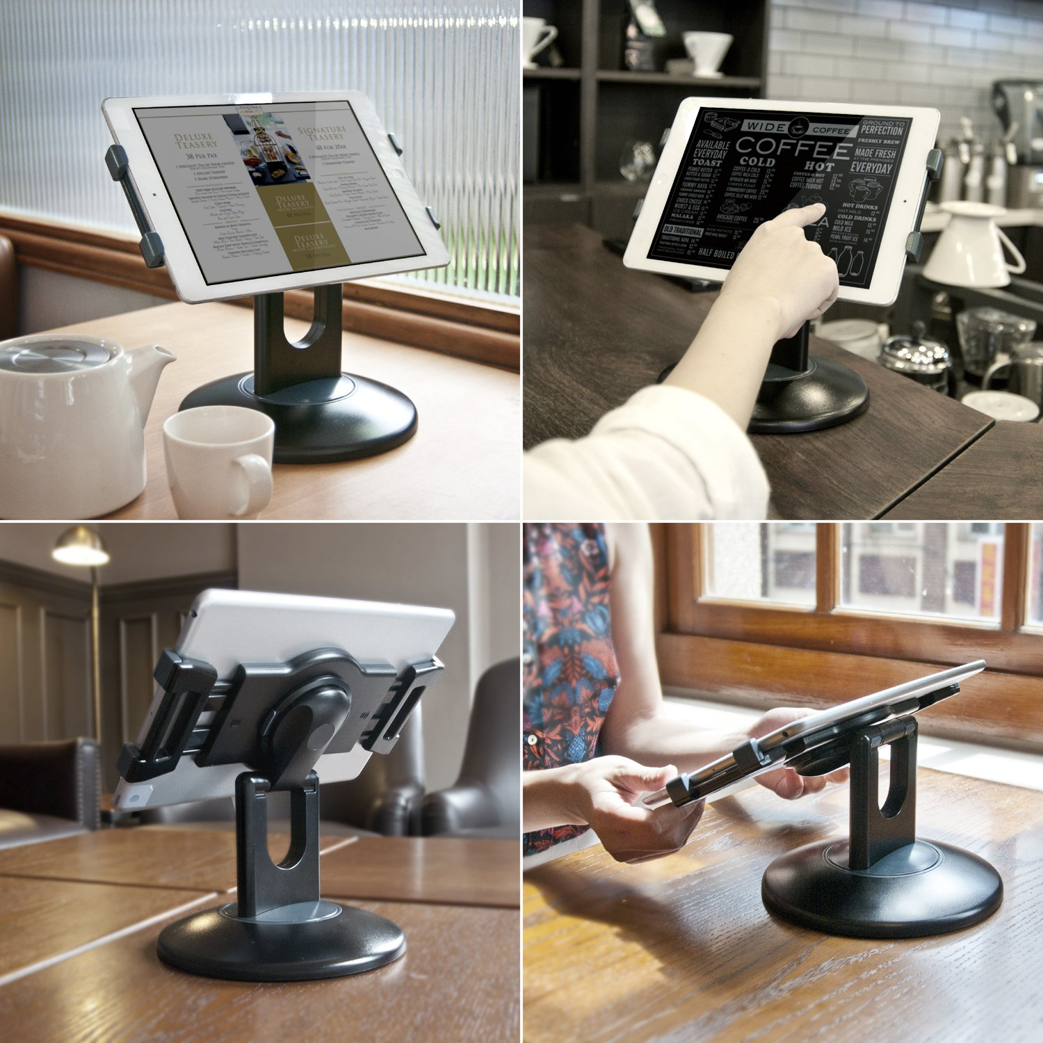 "Business Retail Tablet Stand, 360° Rotation Tablet Mount Holder for Most 7.9"" -13"" Tablet, Swivel Design Perfect for Commercial Store Office Showcase POS Reception Kitchen Countertop, Black"