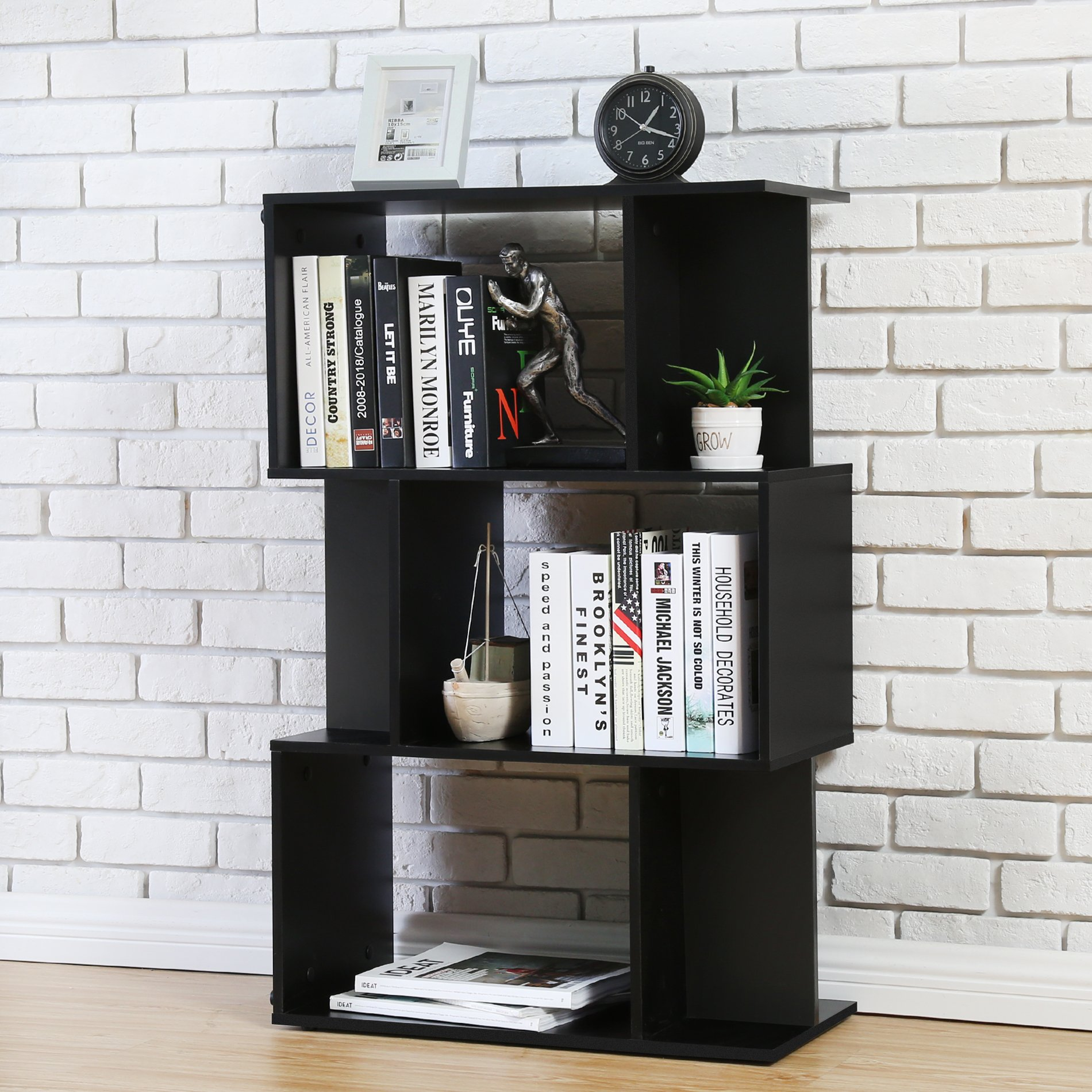 Homury Modern Wood Bookcase Storage Shelving Stand Bookshelf MultiMedia Storage Cabinet Organizer Black