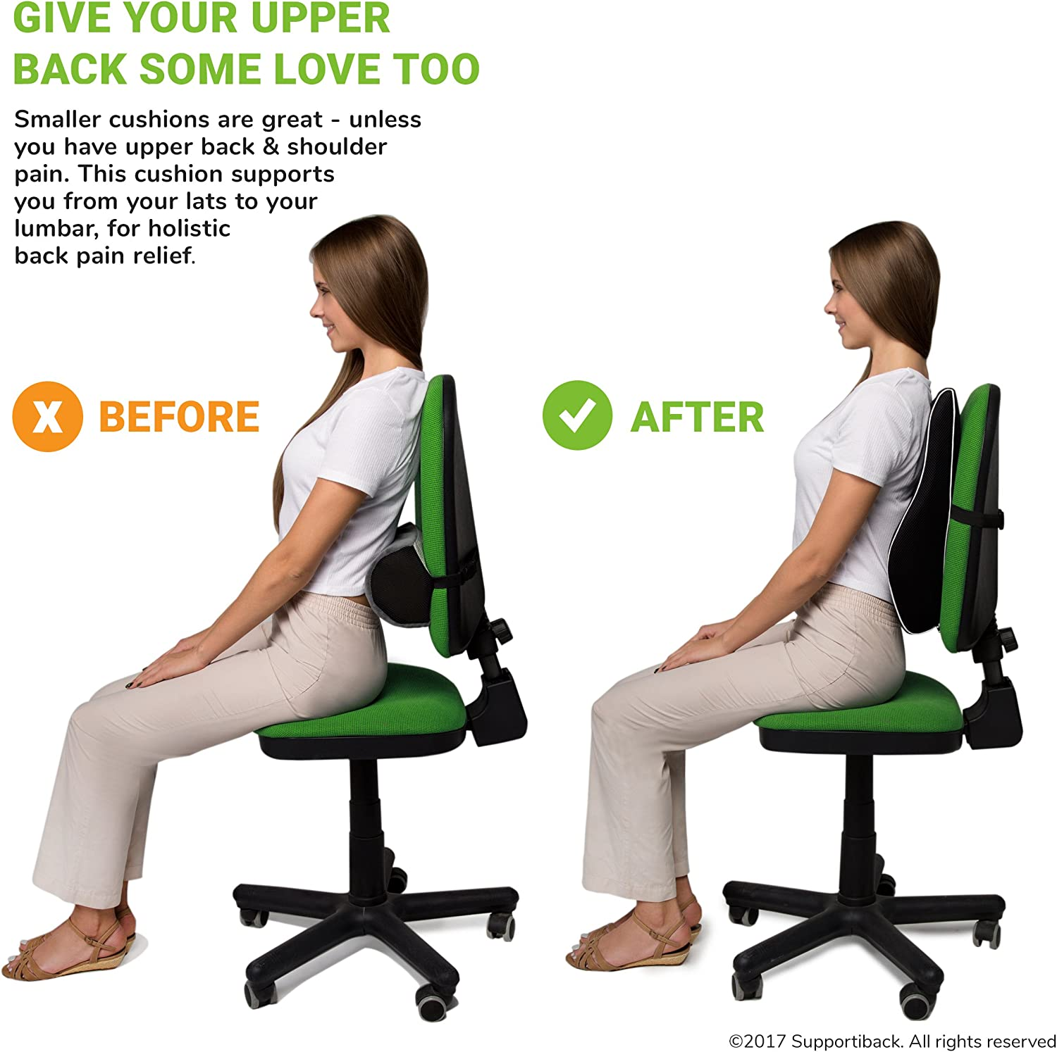 Supportiback Posture Therapy Lumbar Cushion Ergonomic Office Chair Car And Travel Back Support Pillow With Memory Foam And Dual Adjustable Straps Relieves Prevents Upper Lower Back Pain Amazon Ca