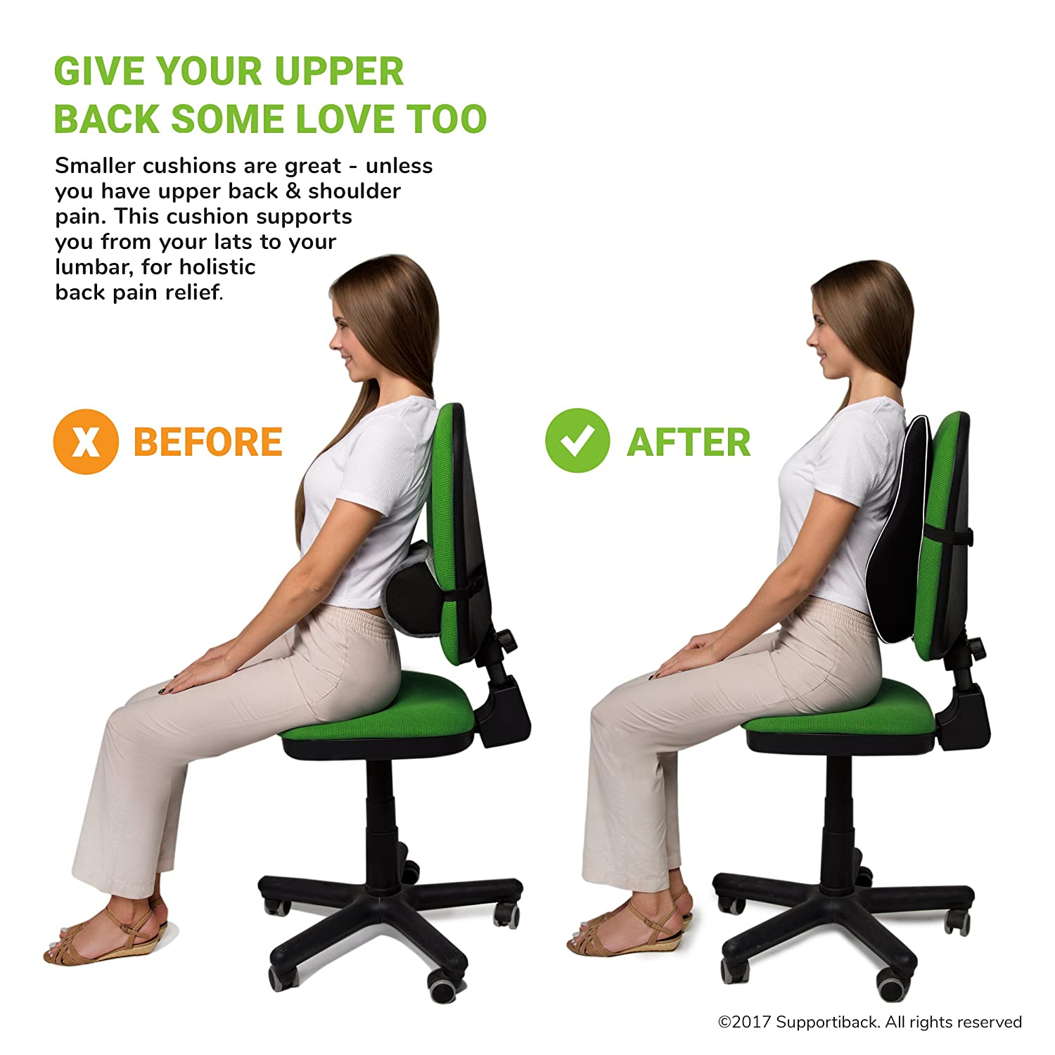 Ergonomic Back Support Pillow For Home Supportiback/® Posture Therapy Memory Lumbar Cushion Office Travel Car Relieve /& Prevent Upper /& Lower Back Pain