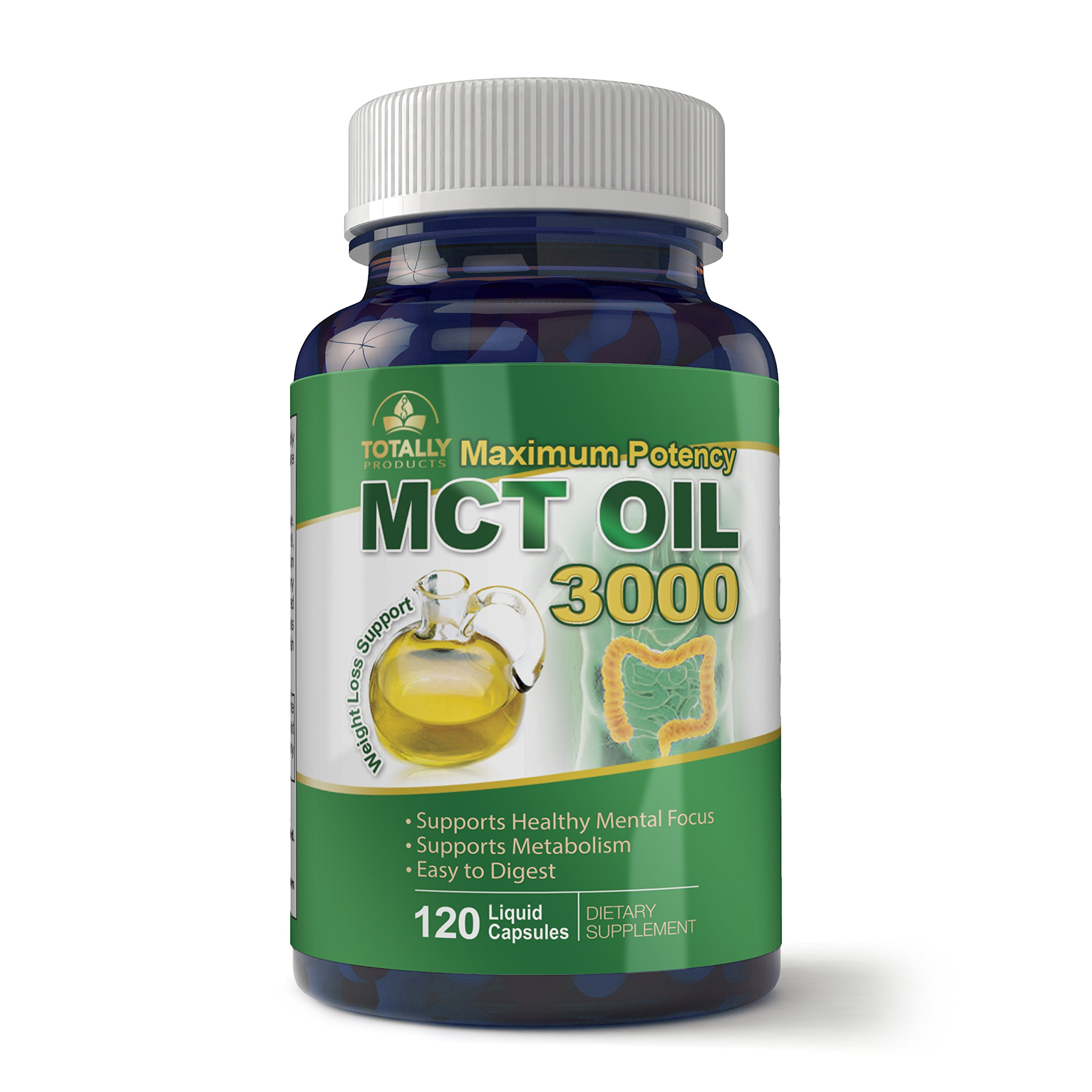 Maximum Potency 100% Pure MCT Oil Capsules 3000 mg I For Improved Energy and Brain Function I 120 Cold Pressed Softgels - Includes Bonus Keto Diet eBook
