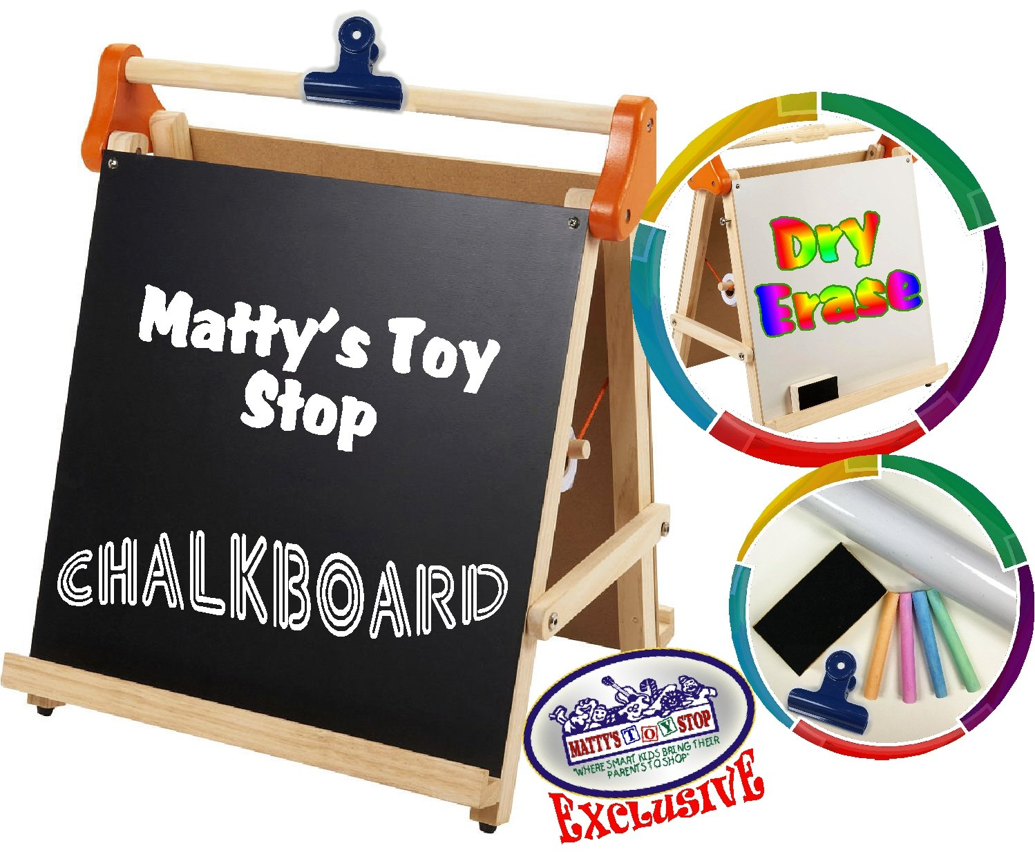 Paper Clip /& Accessories Exclusive Homeware 5275 Paper Roll Dry Erase Mattys Toy Stop Deluxe 3-in-1 Wooden Tabletop Easel with Blackboard