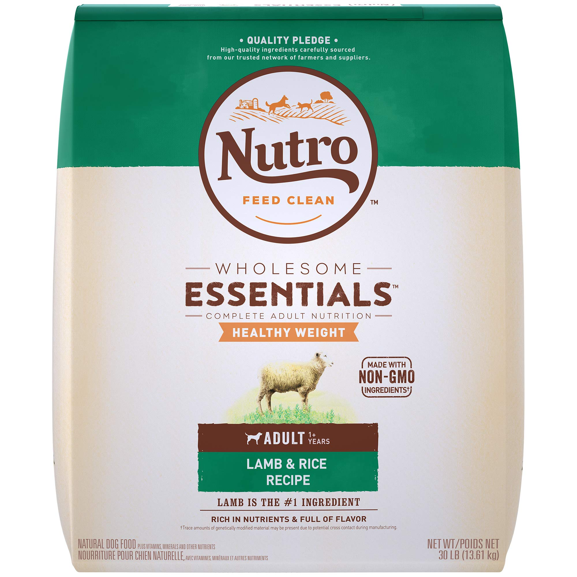 NUTRO WHOLESOME ESSENTIALS Natural Healthy Weight Adult Dry Dog Food Pasture-Fed Lamb & Rice Recipe, 30 lb. Bag by Nutro