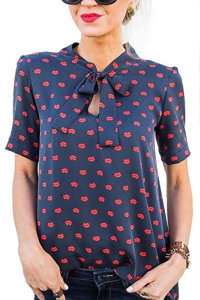 8f0106d693ed YUPOLB Rote Lippen Drucken Oberteile Damen Chiffon Hemden T Shirt Rundhals  Kurzarm Bandage Tops Blouse