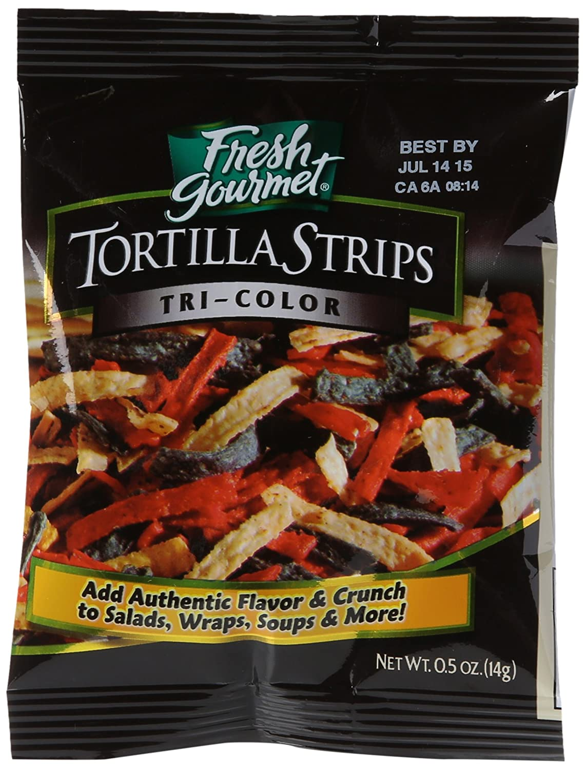 Fresh Gourmet Tortilla Strips, Tri-Color, 0.5 Ounce (Pack of 100)