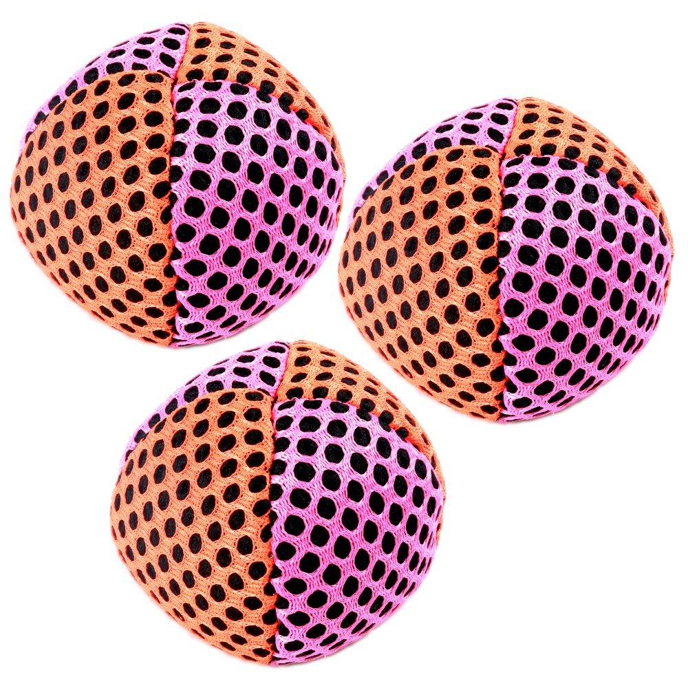 Speevers Xball Juggling/Joggling Balls Professional Set of 3. Fresh Design - 2 Layers of Net. PVC Carry Case. Pick Color, Size, Weight & Density. Choice of The World Champions! (120g Orange - Pink)