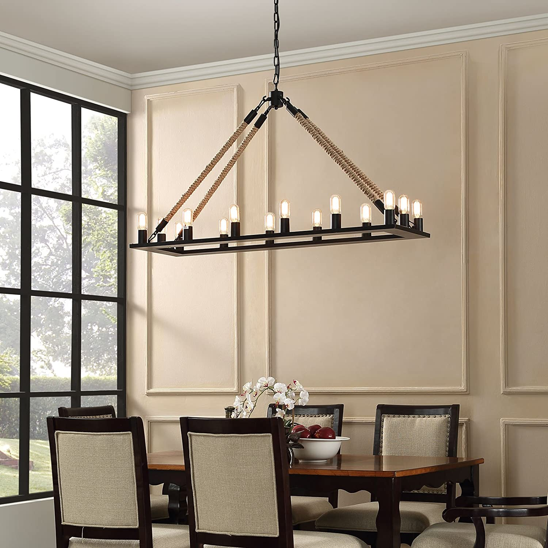 Modway Bridge Rope and Steel Metal 14-Light Modern Farmhlouse Ceiling Light Pendant Chandelier In Black