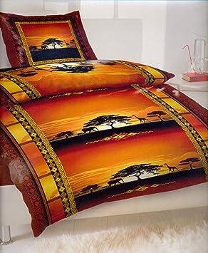 2 parure de lit coucher de soleil en afrique avec fermeture clair avec housse de couette
